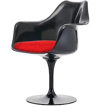 Fusion Living Blank svart och texturerad röd svängbar fåtölj