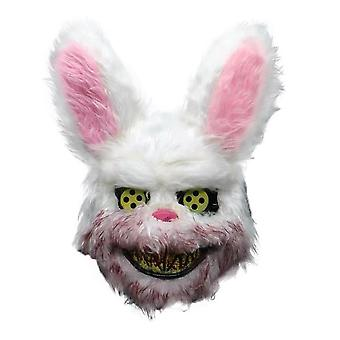 White Bunny Rabbit Bloody Mask Creepy Scary For Halloween Party Costumes Cosplay