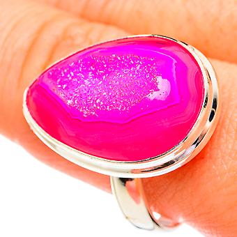Large Pink Agate Druzy Ring Size 11.75 (925 Sterling Silver)  - Handmade Boho Vintage Jewelry RING77343