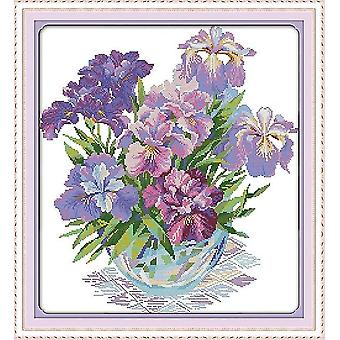Iris Flower Cross Stitch Cloth Needlework Embroidery Kit - Aida Fabric Count