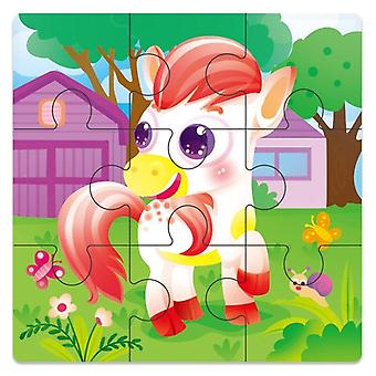 3D wooden puzzle jigsaw toys wood 3d cartoon animal puzzles intelligence kids early educational toys for children