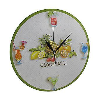 Pyöreä trooppinen Clocktails seinä kello 12.