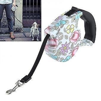 5m Peony Pattern Flexible And Retractable Dog/cat Leash, Suitable For Daily Walking