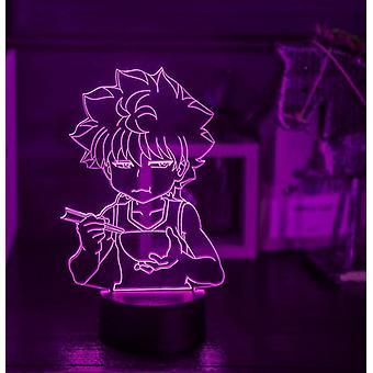 Kids Gift Anime Hunter X Hunter Killua Night Light Touch Sensor Chambre 3d Illusion Night Light Ledanime Lamp Colorful Remote Control Night Light Home