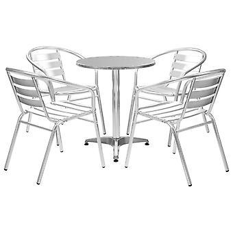 Chunhelife 5 Pièces Salle à manger en plein air Ensemble Aluminium Argent
