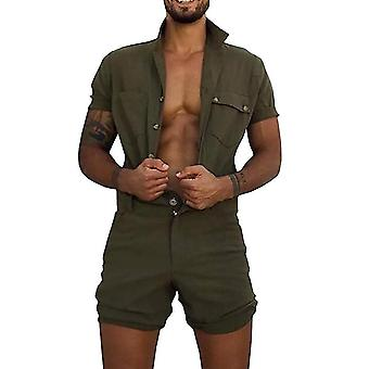 All The Men Men-apos;s Workwear Tooling Jumpsuit Summer Solid Color Short Sleeve