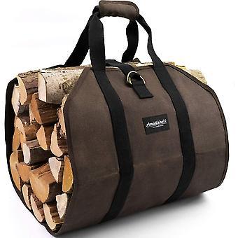 Firewood Carrier Bag,portable Canvas Large,firewood Log Tote-dark Brown