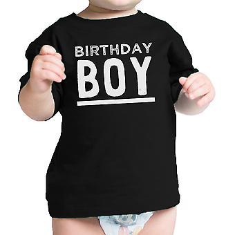 Syntymäpäivä Boy t-paita musta graafinen Baby t-paita Pyöreä kaula puuvilla