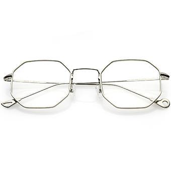 Premie geometrische Octagon brillen Ultra slanke metalen duidelijk vlakke Lens 49mm