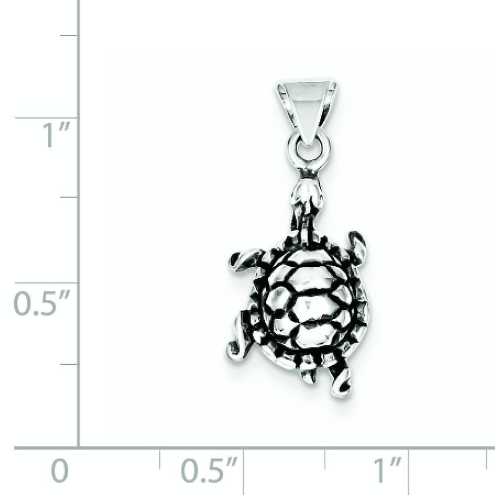 925 Sterling Silber solid poliert open zurück Finish Schildkröte Anhänger Anhänger Halskette Schmuck Geschenke für Frauen