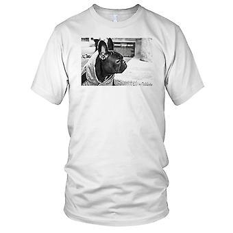 Franske bokseren B&W hunden Kids T skjorte