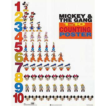 Mickey & venner 1 til 10 tælle plakat plakat Print af Walt Disney (16 x 20)
