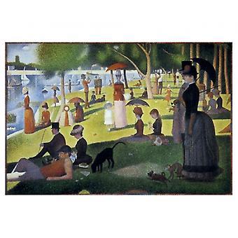 Sonntagnachmittag auf der Insel von La Grand Jatte Poster drucken von Georges Seurat (11 x 9)