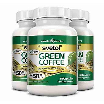 Pure Svetol Green Coffee Bean with 50% CGA - 180 Capsules - Fat Burner and Antioxidant - Evolution Slimming