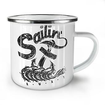 Sailing Navy Sea NEW WhiteTea Coffee Enamel Mug10 oz | Wellcoda