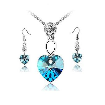 Sky Blue Crystal Elements Heart Pendant Necklace And Earrings Set