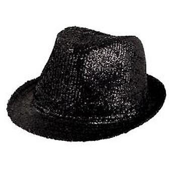 Gangster Hut schwarz Lurex