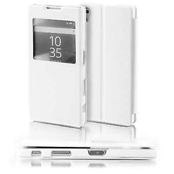 Booktasche okno białe dla Sony Xperia Z5 5.2 cala