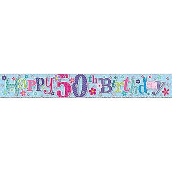 Simon Elvin Foil Banner Happy 50th Birthday