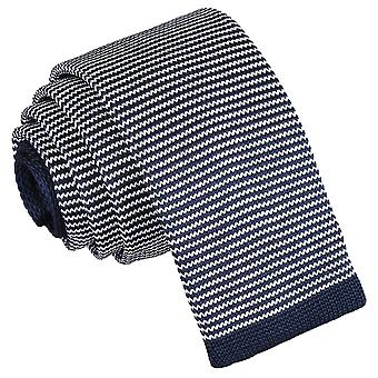 White and Navy Pin Stripe Knitted Skinny Tie
