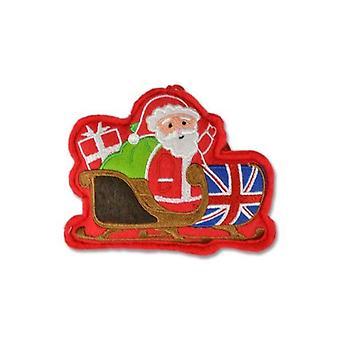 Union Jack indossare Union Jack Santa Sleigh decorazione albero di Natale