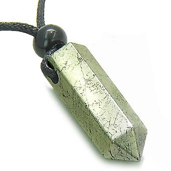 Amulett goldenen Pyrit Irom Crystal Punkt Schutz Magie treibt Anhänger Halskette