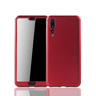 Huawei P20 Pro Handy-Hülle Schutz-Case Full-Cover Panzer Schutz Glas Rot