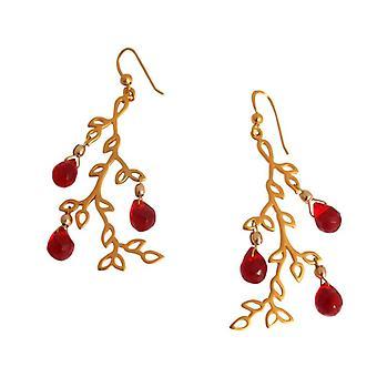 Deixa brincos banhado a ouro pedras preciosas de jade vermelho chapeada