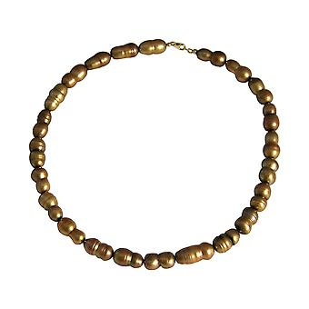 GEMSHINE Halskette Barock Perlen Tahiti Champagne in 925 Silber oder vergoldet
