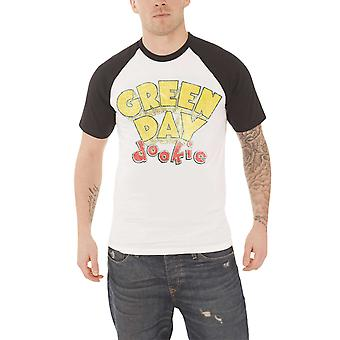 Green Day T Shirt Dookie vintage band logo new Official Mens White Raglan