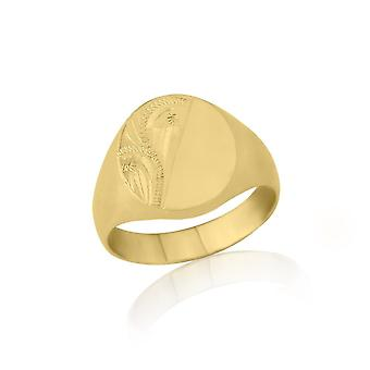 Star Wedding Rings Oval-Shaped 9ct Yellow Gold Heavy Weight Engraved Signet Ring