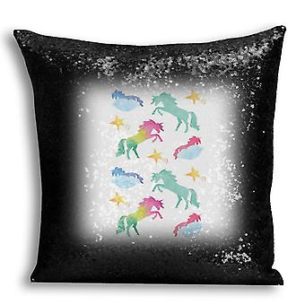 i-Tronixs - Unicorn Printed Design Black Sequin Cushion / Pillow Cover for Home Decor - 7