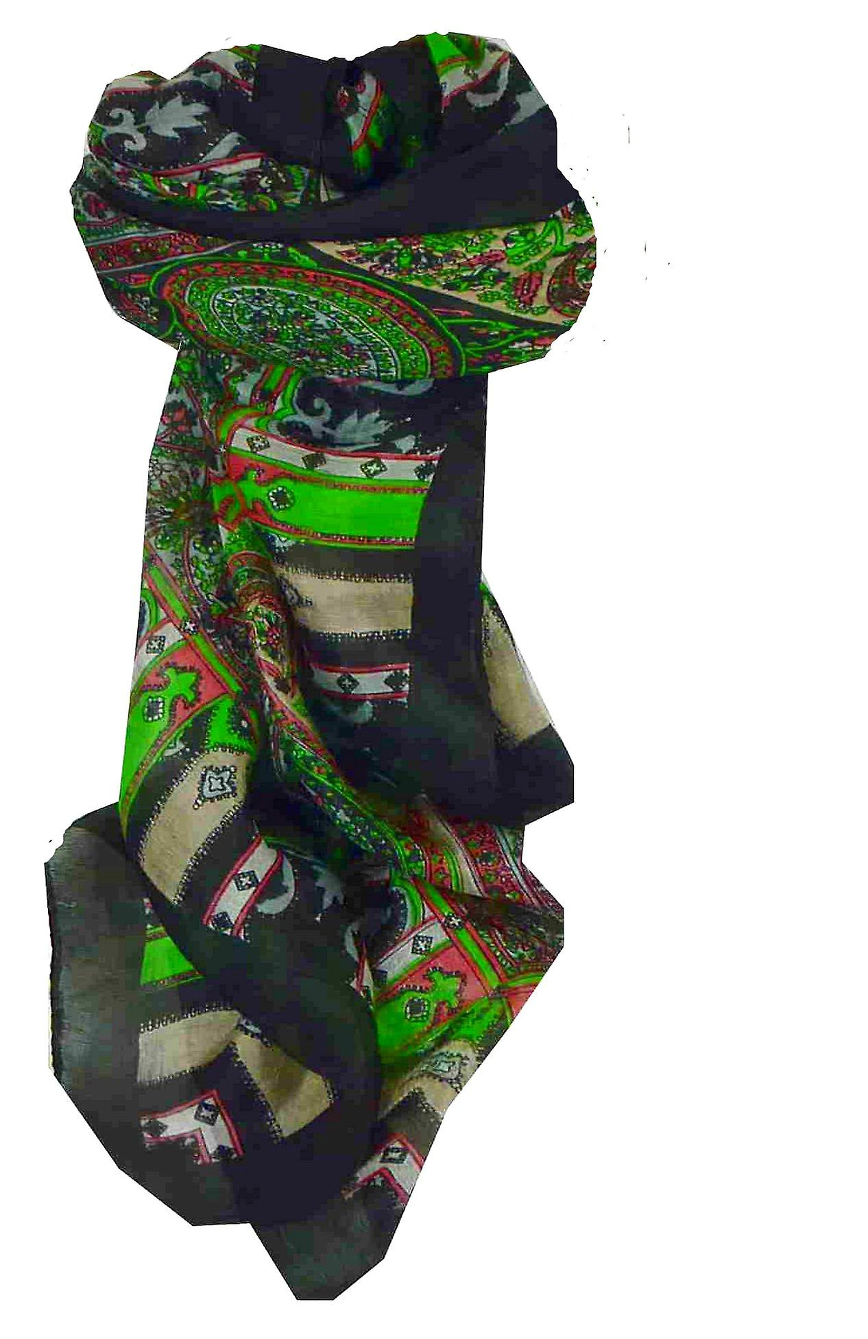 Mulberry Silk Traditional Square Scarf Aimee Black by Pashmina & Silk