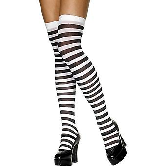 Stockings Black and White Striped, One Size