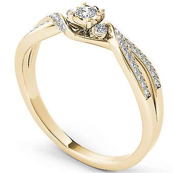 Igi certifierad 14k gult guld 0.15ct rund diamant tre sten förlovningsring