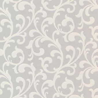 Retro Light Grey Floral Scroll Wallpaper Pearlescent Paste The Wall Fine Decor