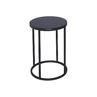 Gillmore Black Glass And Black Metal Contemporary Circular Side Table