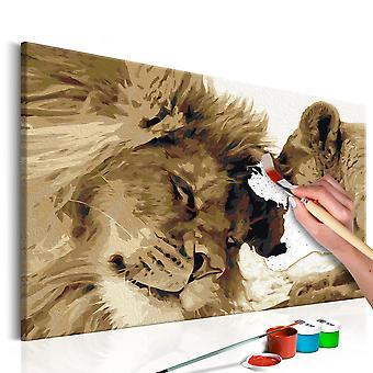 Obraz do samodzielnego malowania - Lew i lwica (miłość)