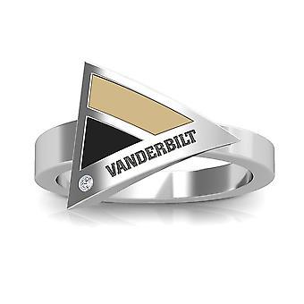 Vanderbilt University Engraved Sterling Silver Diamond Geometric Ring In Tan & Black