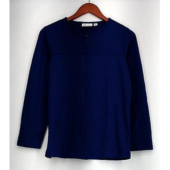 Denim & Co. Top Novelty Zip Front Long Sleeve Jacket Blue A85253