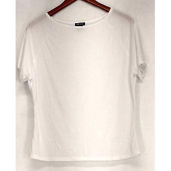 Iman Top Slip Into Slim Short Sleeve Knit White Womens 460-386