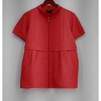 Motto Basic Jacket Jersey Knit Zip Front w/Pockets Pink