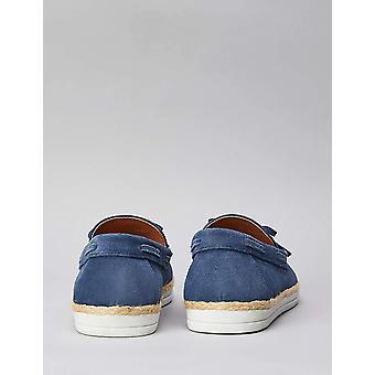 Amazon Brand - find. Men's Leather Espadrilles Blue), US 11.5