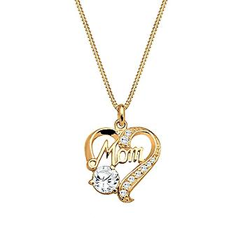 Goldhimmel Necklace with Pendant to Woman Silver Heart 925 with White Zirconia - Gold - 45 cm