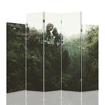Divisor de habitaciones decorativas, 5 paneles, lienzo, edificios en los trópicos 2