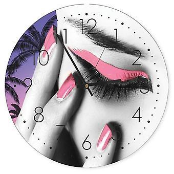 Reloj decorativo con imagen, maquillaje rosa