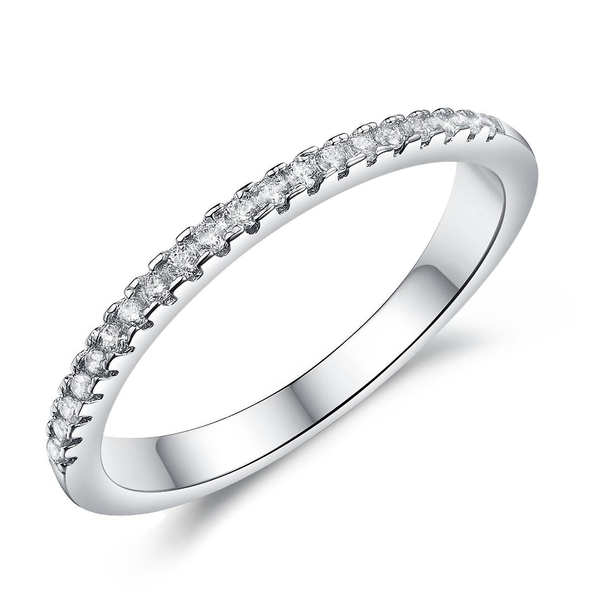925 Sterling Silver Clawset Eternity 1 Row Band