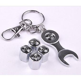 Set of 4 Chrome Anti-Theft Car Tyre Air Dust Valve Stem Cap With Keyring Spanner For Mini Cooper