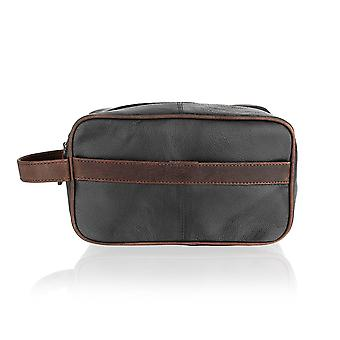 Black With Brown Contrast Leather Wash Bag 11. .0