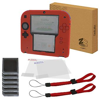Essentials kit for nintendo 2ds inc silicone cover, screen protectors, game cases & wrist straps - red